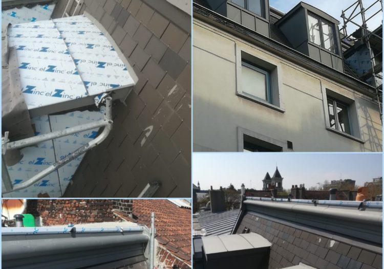 Travaux toiture chien assis en zinc sur-mesure et toiture ardoise à Lille métropole